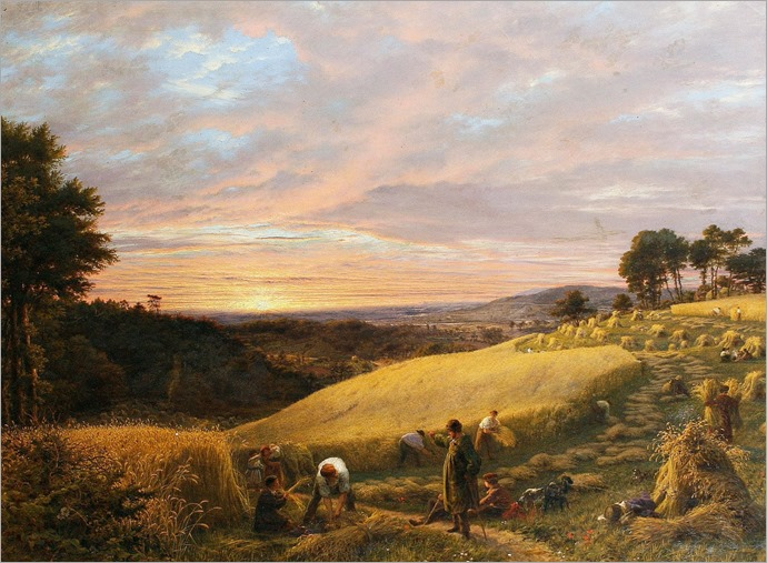 James Thomas Linnell - Harvesting at Sunset 1851
