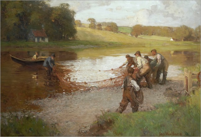 James Wallace - Salmon Fishing on the Tweed 1908