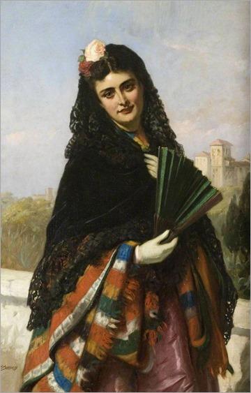 john bagnols burgess- spanish lady with a fan
