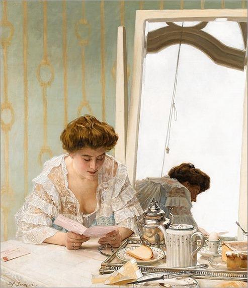 JOSEPH (JEF) LEEMPOELS (belgian 1867-1935)-A MORNING MISSIVE