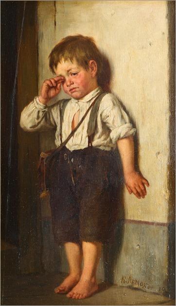 Karl Vikentievich Lemoch (russia, 1841-1910)_menino triste
