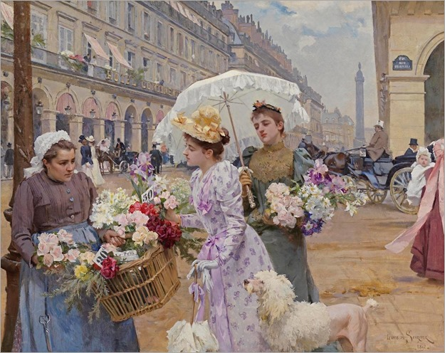 La Marchande de Fleurs, Rue de Rivoli (1892) by Louis Marie de Schryver (french, 1862-1942)