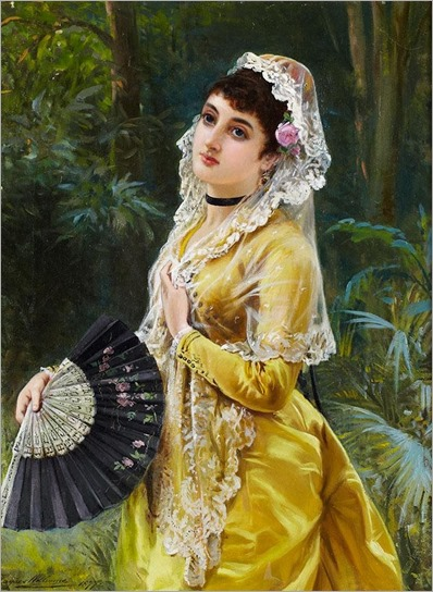LA RUBIA (BEAUTY IN YELLOW HOLDING A FAN)-John Haynes Williams