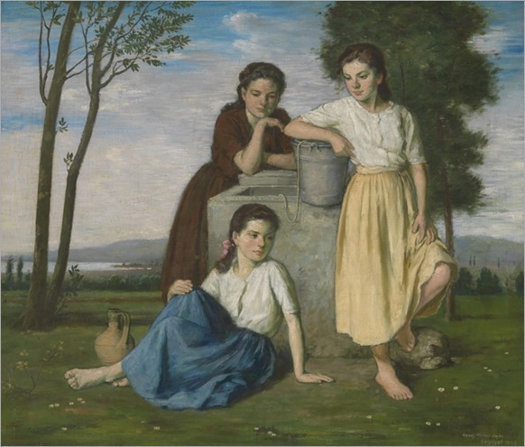 LAJOS_REZES_MOLNAR-(Hungary 1896-1989) Three Girls at the Well_707x600