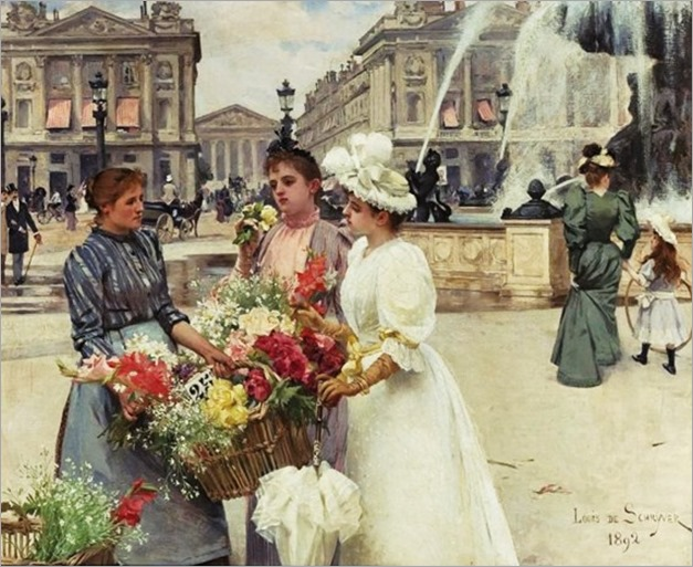 Louis Marie de Schryver (French artist, 1862-1942) Flower Seller at the Place de la Concorde