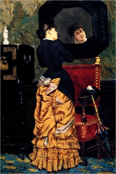 Portrait of a lady in the mirror-Odoardo Borrani (italian painter)