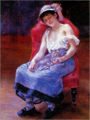 Sleeping-girl-with-cat-Renoir