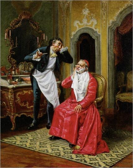 The awkward barber - François Brunery (Italian, 1849-1926)