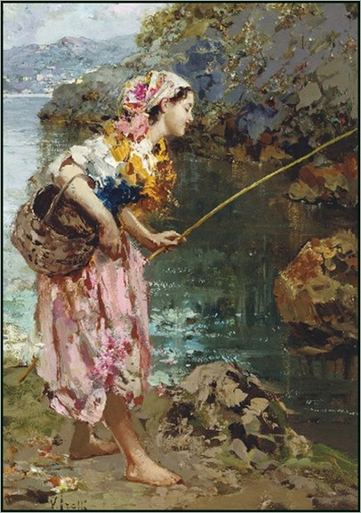 the fisher girl - Vincenzo Irolli (italian painter)