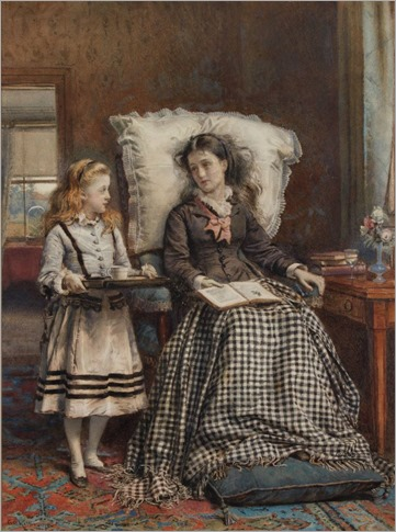 The Nursemaid (by 1924). George Goodwin Kilburne (English, 1839–1924). Watercolour