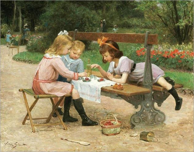 Victor Gabriel Gilbert (french, 1847-1933) - Le goûter au jardin public