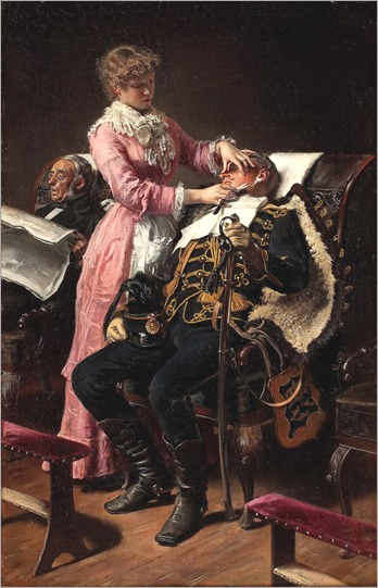 Vilhelm Jakob Rosenstand_interior av raksalong, kvinna rakar husarofficer