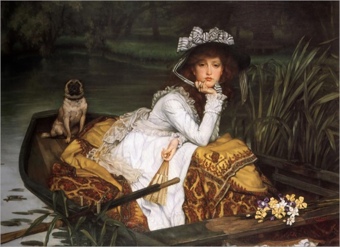 young lady in a boat-1870- James Tissot-1836-1902