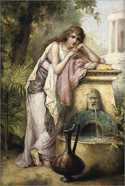A young beauty by a fountain -Diana Coomans (Belgian, 1861-1952)