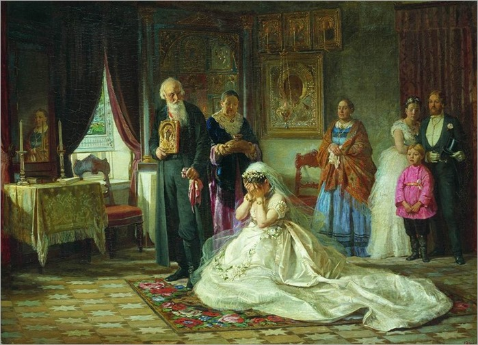 before the wedding - 1874 - Firs Zhuravlev (russian painter)