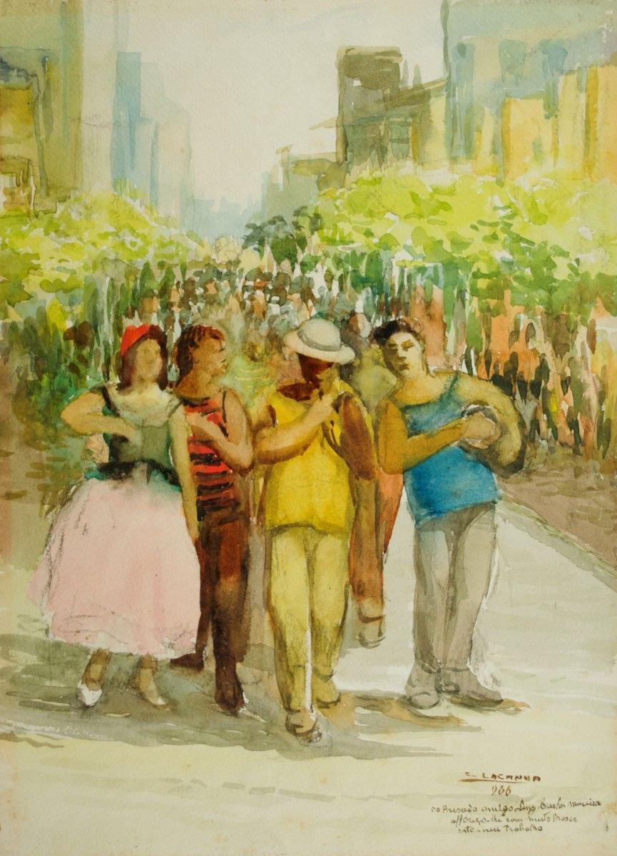 CESAR LACANNA - (1901 - 1983) - Carnaval - a - 32 x 23 - cid - 1966