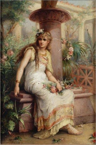 Diana Coomans - Classical maiden in an Italian garden