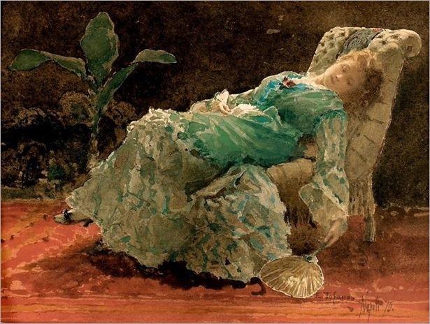Edoardo Tofano-giovane donna in un interno-1875