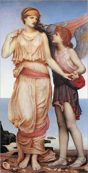 Evelyn de Morgan (1855–1919)-Venus and Cupid on the Seashore