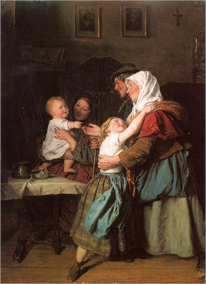 Ferdinand Georg Waldmüller - 1863-the grandparent´s visit