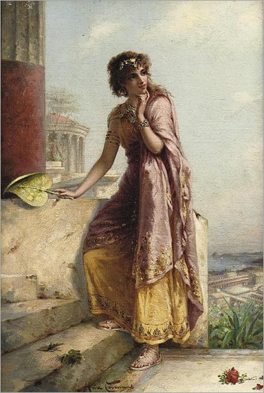 Heva Coomans (Belgian, active 1883-1890) - a young woman by a tempel
