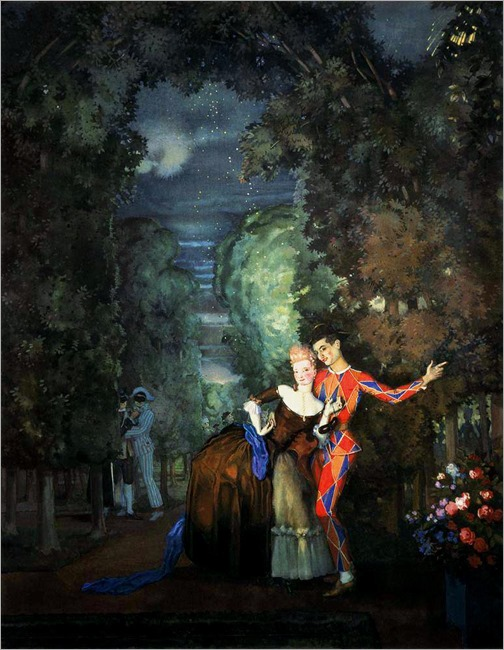 Lady and Harlequin -1912- Konstantin Somov (russian painter)