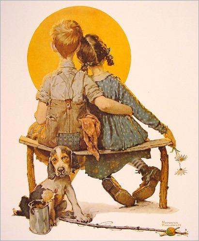 NormanRockwell_boy_and_girl_gazing_at_the_moon