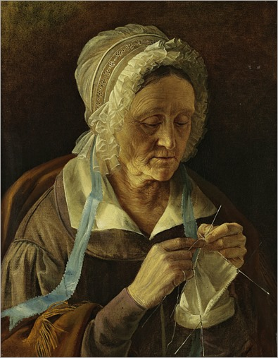 Old woman knitting_Ivan Khrutsky (Russian, 1810 - 1885