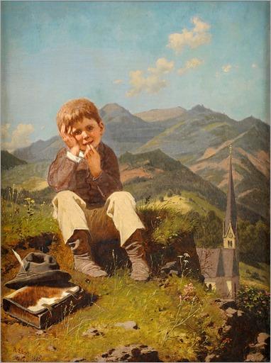 the little truant-1885-ANTON EBERT(German, 1845-1896)