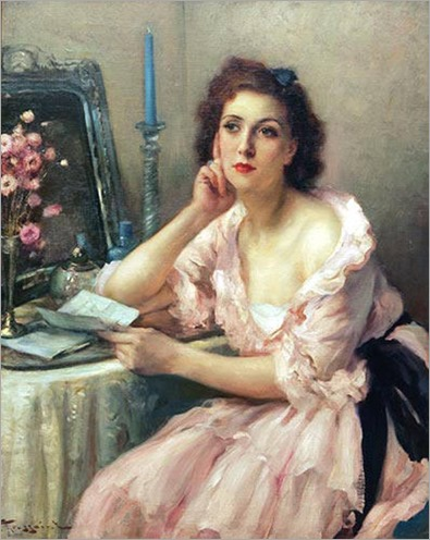 The Love Letter and Mirror. Fernand Toussaint (Belgian, 1873-1955)