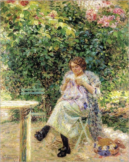 Woman with Her Sewing in a Garden_Ludovic Vallee-1913