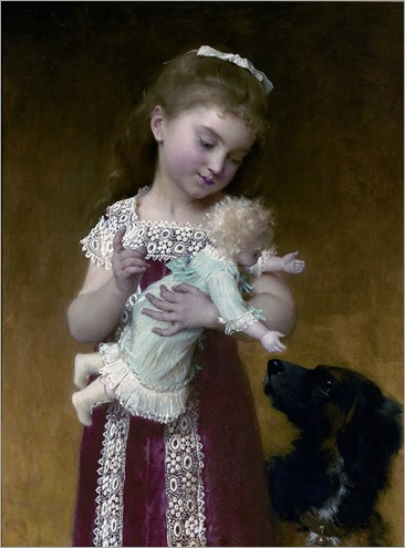 Young Girl and Her Dolls - Emile Munier