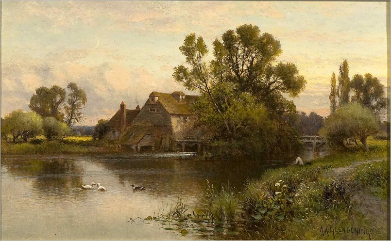 1896_Fishing_near_the_Mill_Sussex_Alfred Glendening Sr