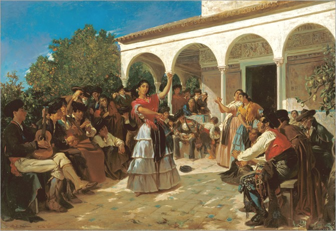 Alfred Dehodencq-A Gypsy Dance in the Gardens of the Alcázar, in front of the Charles V Pavilion-1851