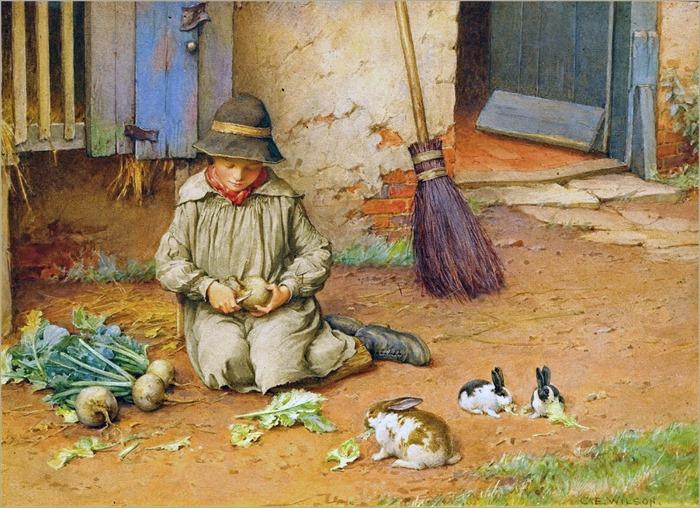 Charles Edward Wilson - Feeding the Pets ca. 1890