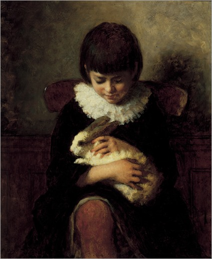 Eastman Johnson (American, 1824–1906) - child with a rabbit, 1879