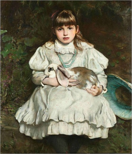 Frank Holl (1845-1888)- Portrait of a Young Girl Holding a Pet Rabbit 1882