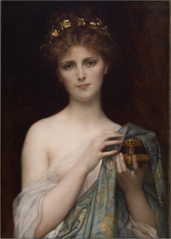 Alexandre Cabanel (French, 1823-1889). 'Pandora,' 1873. oil on canvas. Walters Art Museum (37.99): Acquired by William T. Walters, 1873.