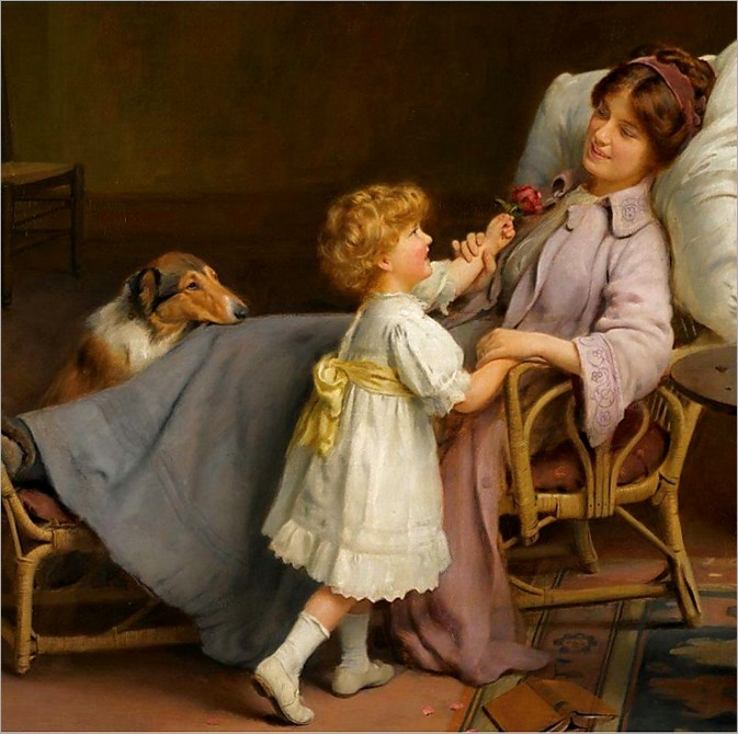 Arthur John Elsley (english, 1861-1952)-well on the mend
