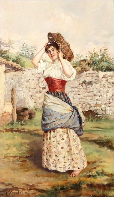 AURELIA DELLA CORTE SZVATEK (ITALIAN 19TH-20TH CENTURY) -playful-farmgirl-with-basket