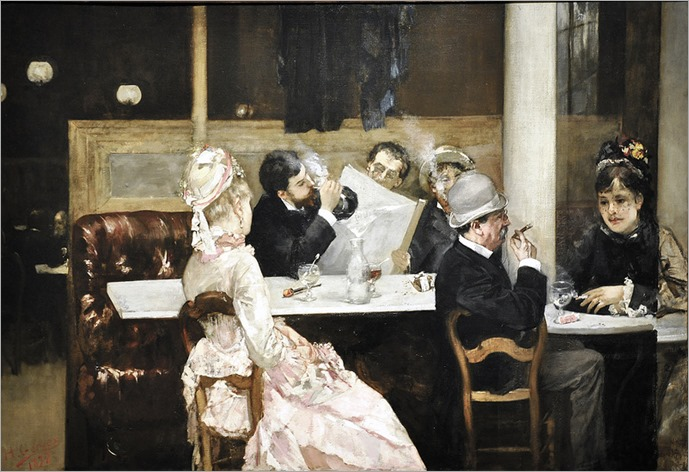 Café Scene in Paris (1877) by Henri Gervex (french, 1852-1929)