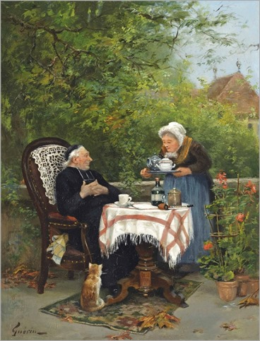 Charles François Prosper Guérin (French, 1875-1939)  -The curate's tea party