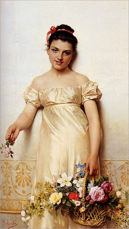 Costa-Giovanni-A-Young-Lady-Holding-A-Basket-Of-Flowers