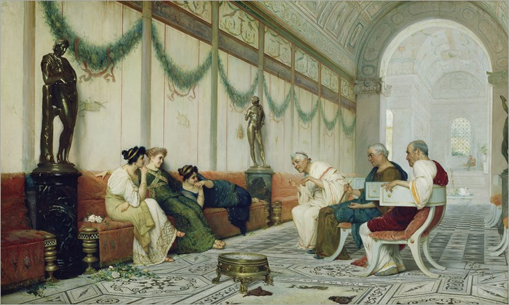 Ettore Forti (italian painter) - Interior of Roman Building with Figures (late 1880s)