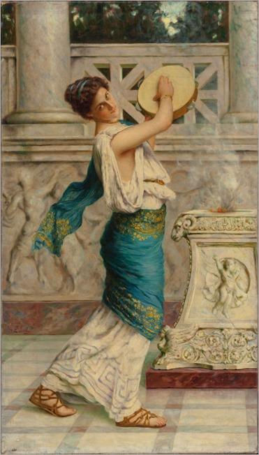 GUGLIELMO ZOCCHI (Italian, b. 1874). Roman Woman Playing the Tambourine