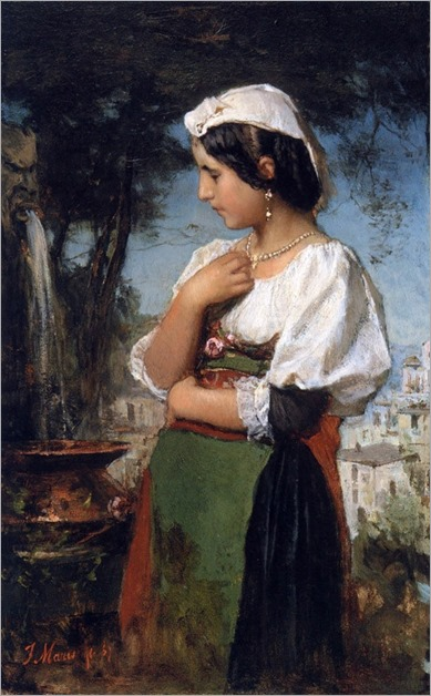 Jacob Maris - italian girl at a fountain