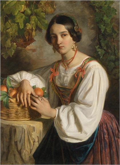 Johann (Giovanni) Endler (1821-1851) Junge Romerin mit einem Obstkorb