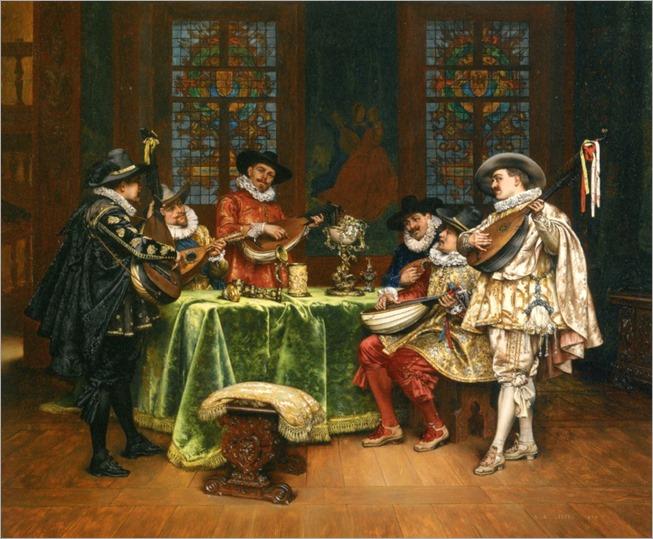 Lesrel_Adolphe_Alexandre_Interior_with_Troubadours_1899