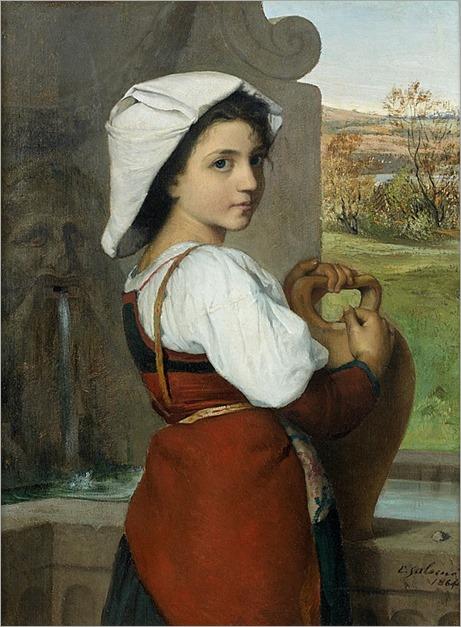 Émile SALOME (Lille 1833-1881) Jeune italienne à l'amphore