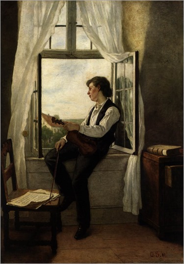 Otto Scholderer, The violinist at the window, 1861